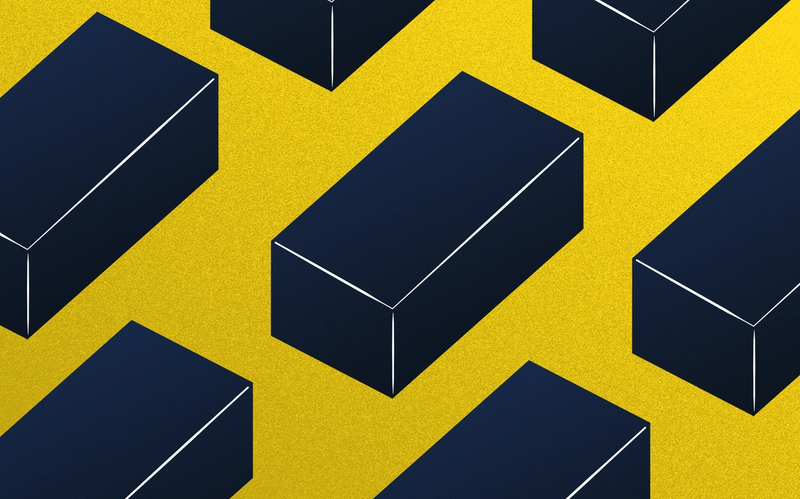 Illustration of dark bricks against a yellow background.