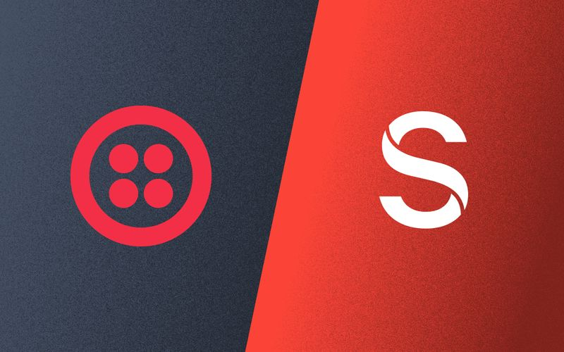 Logos for Twilio and Sanity