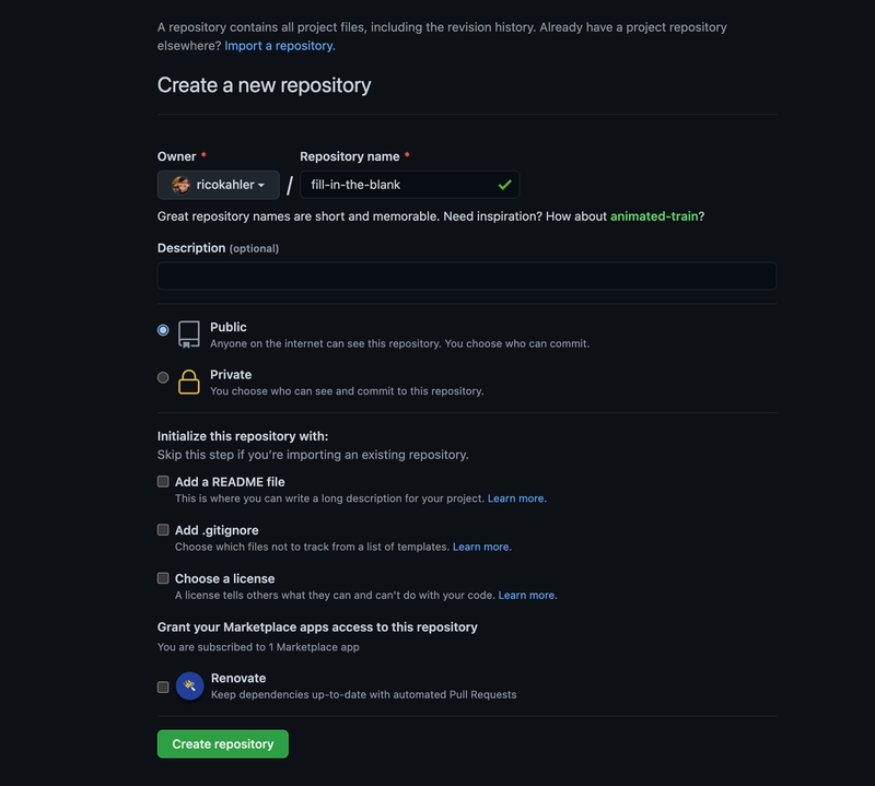 """Screenshot of the GitHub create repository UI. Select """"public"""" and leave the rest of the options blank."""