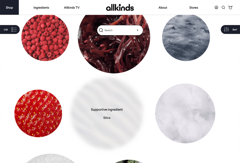 interactive ingredient index that's visual by default, switch between filters, sorting and even search powered by algolia
