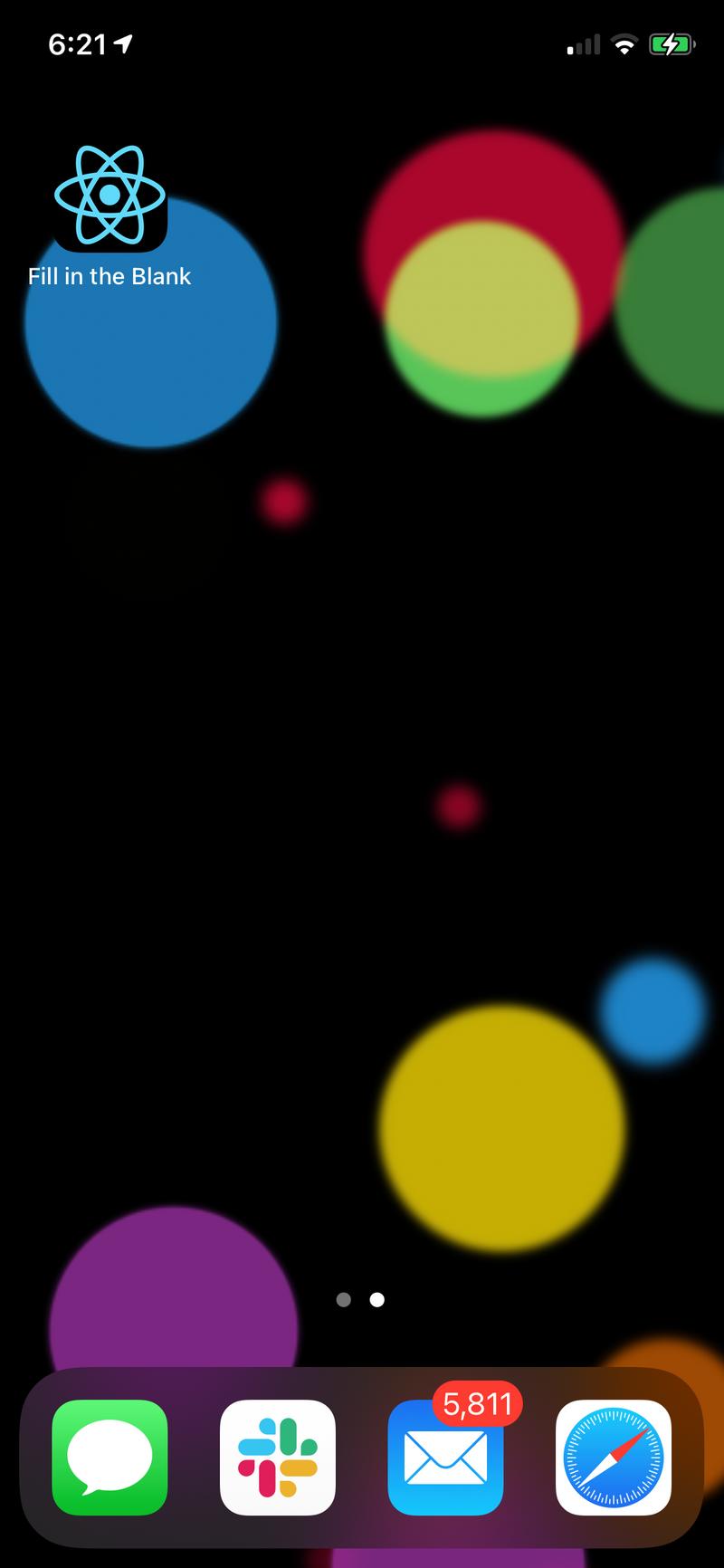Screenshot of App on the Home Screen