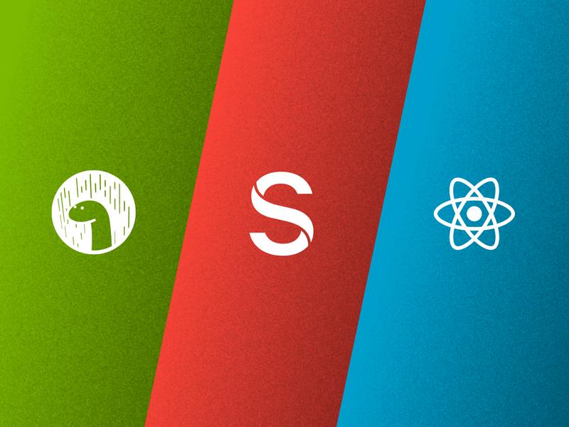 Deno, Sanity, and React logos