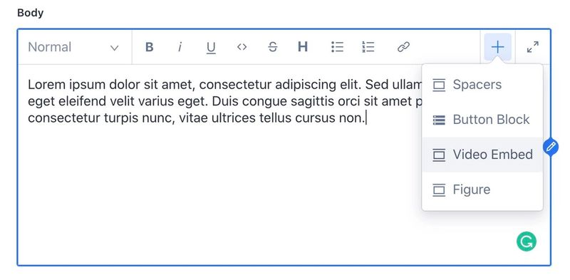Customizable content block selector in the Portable Text editor