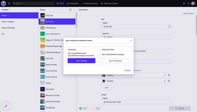 Studio desk view with modal from custom sync-button plugin open