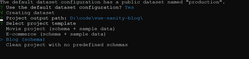 Terminal view of creating a Sanity project