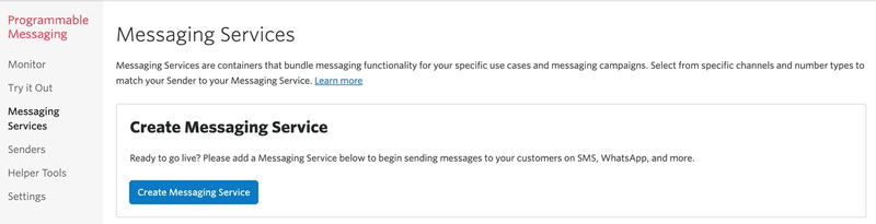 Twilio console with 'Messaging Services' selected