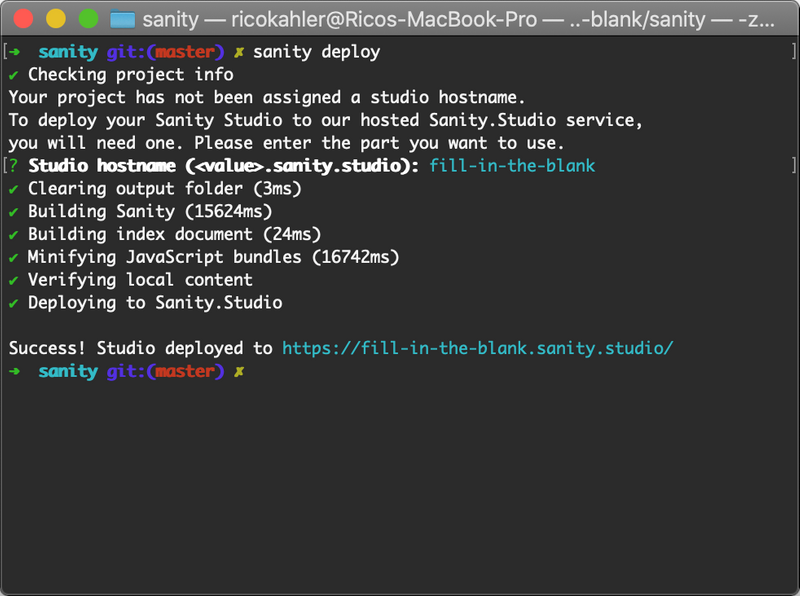 Screenshot of the Sanity CLI after a deploy