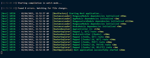 A row of success messages in the Nest CLI announce our application has successfully started.