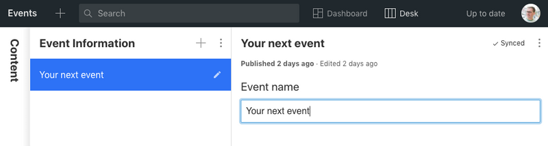 The Studio with an event name field
