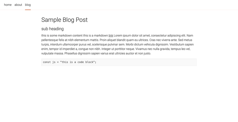 A screenshot of the single blog post page
