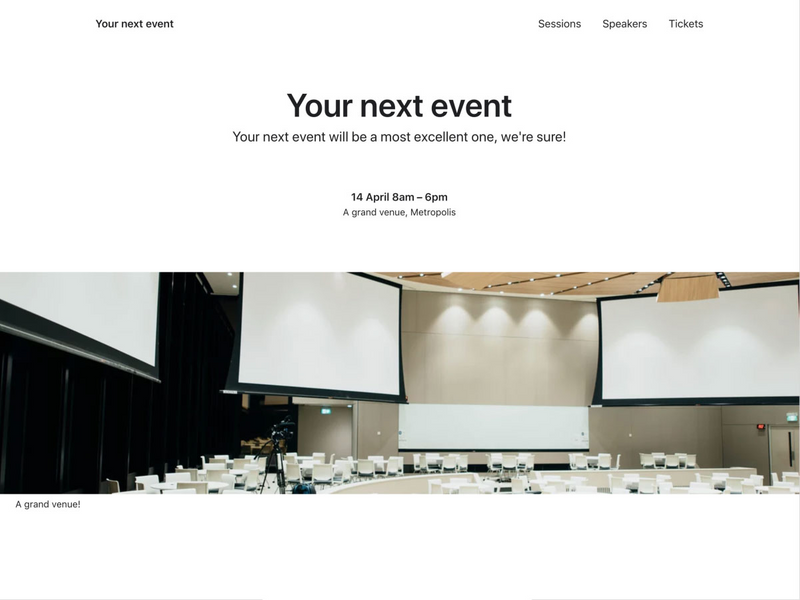 The home page for the event website