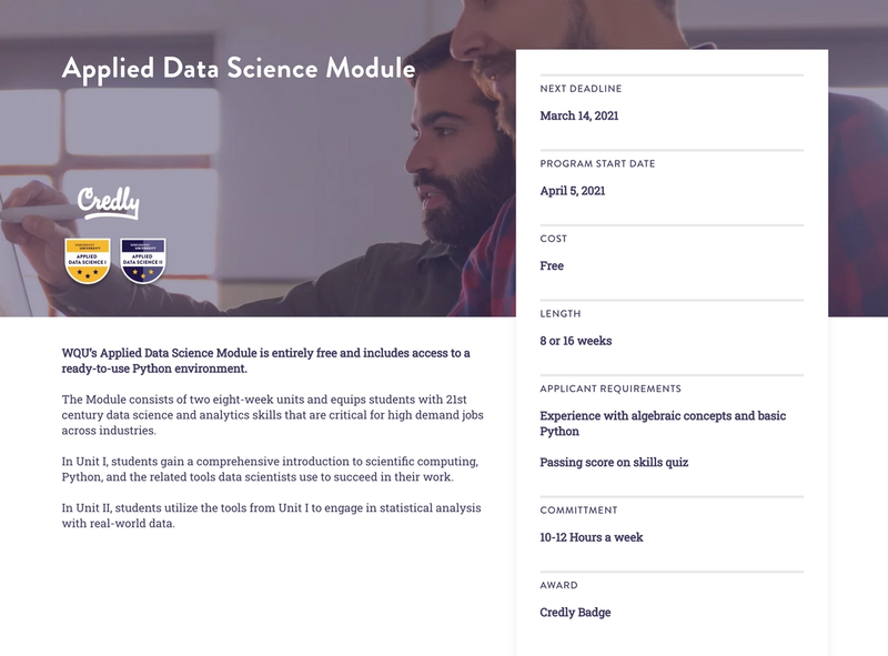 "Homepage summary of one of the Data Science program. Includes a reusable component (the card on the right) that was reused in several, different ""lego"" components."