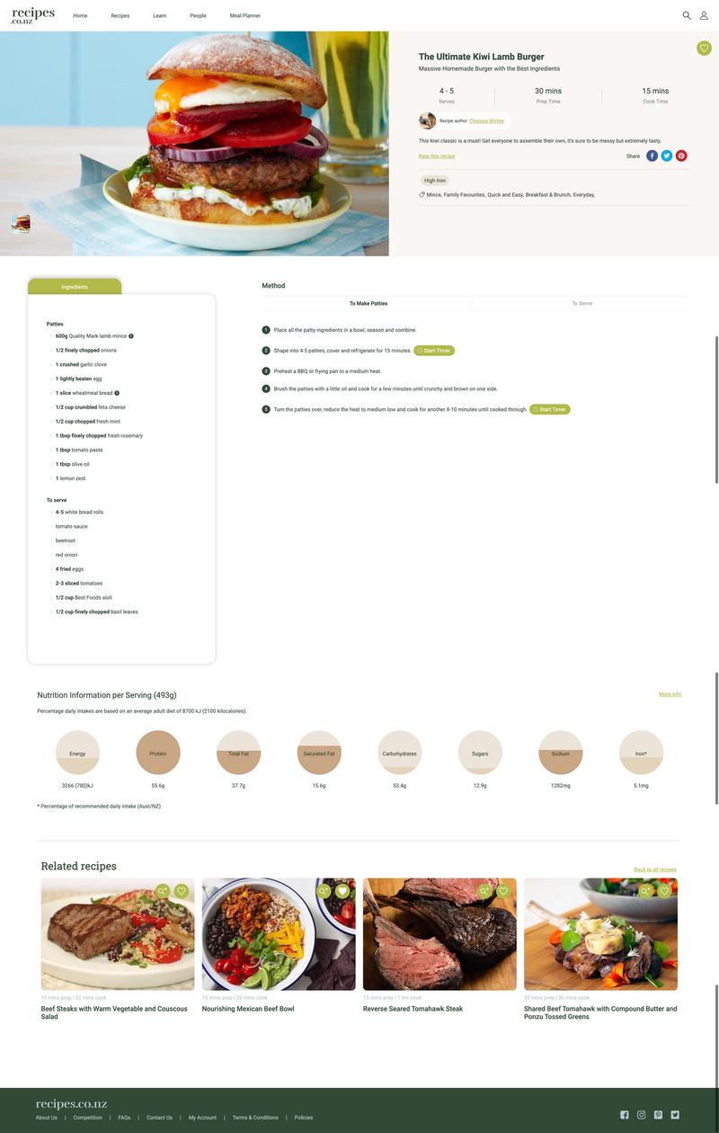 A recipe inner page featuring interactive method steps, ingredients, nutritional information and more