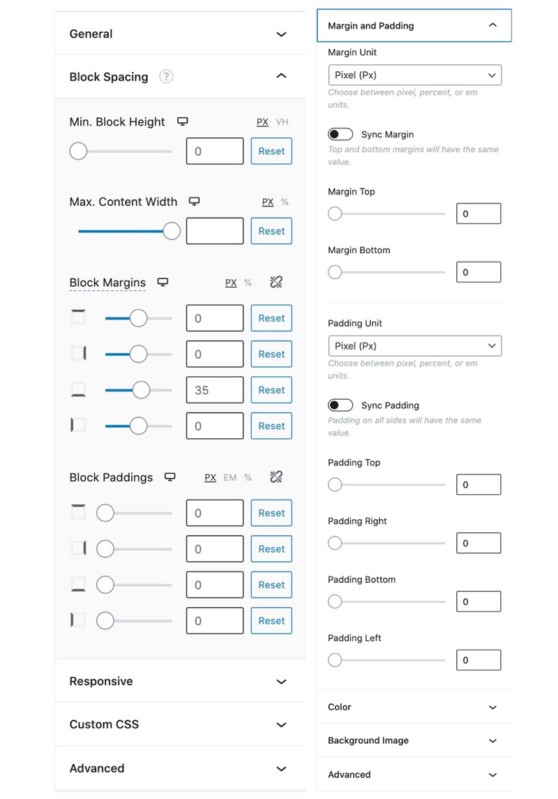 Gutenberg's formatting panels with specific styling for each block