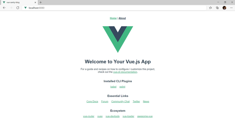 Vue http://localhost:8080 view in browser