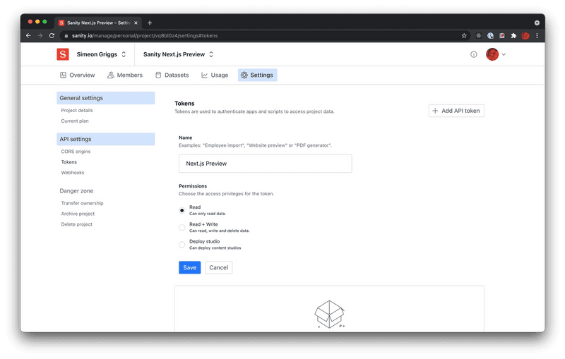 Generate a Token for Next.js to read draft content when Preview mode is enabled. Don't forget to setup CORS while you're here!.