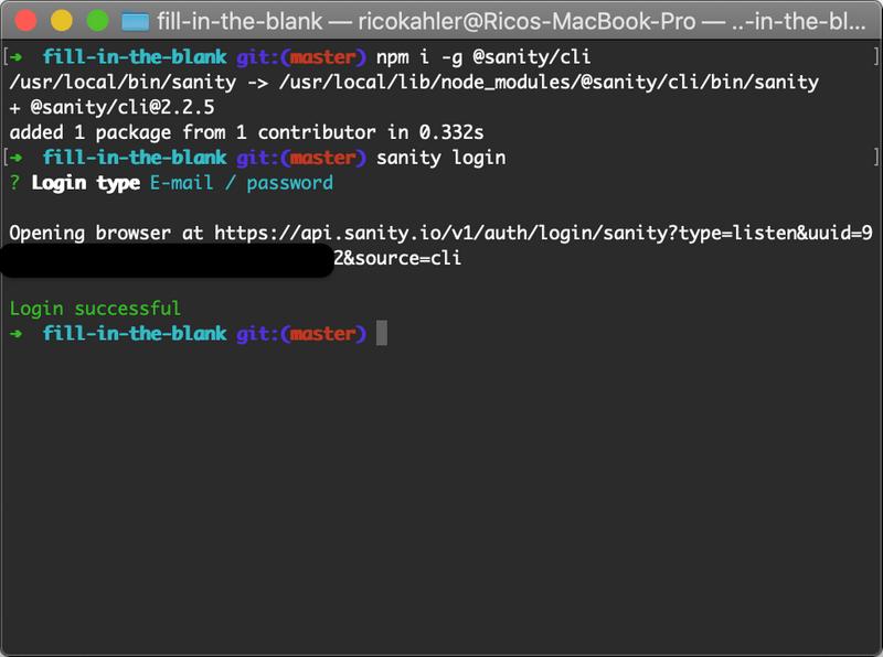 screenshot of sanity CLI and login