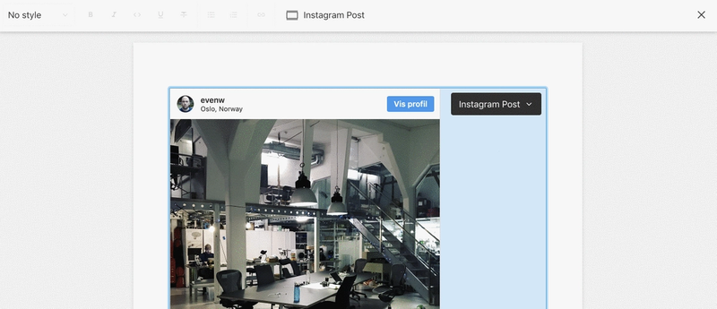 GIF of editorial UI changing Instagram Post URLs