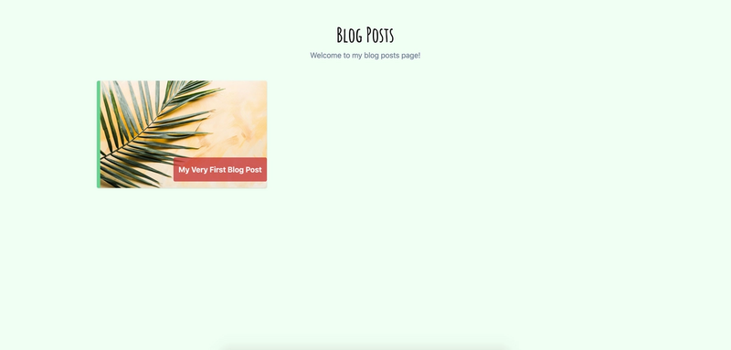 View of AllPosts() route with blog post tile