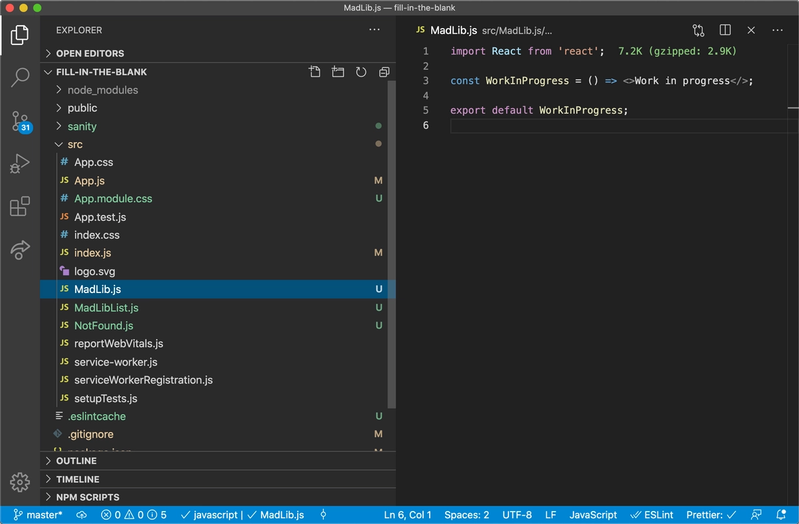 Screenshot of the code editor and filesystem after this step.