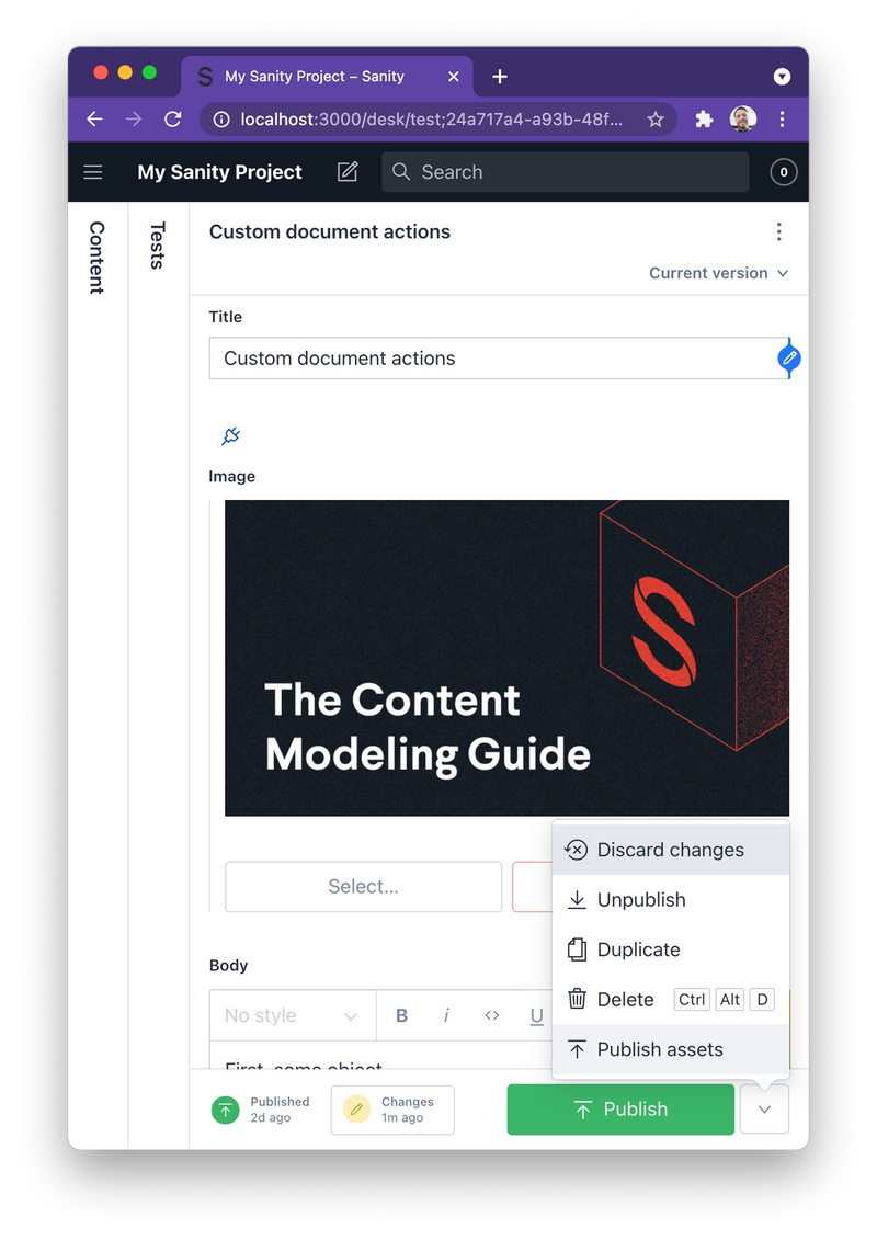 Screenshot of custom document action