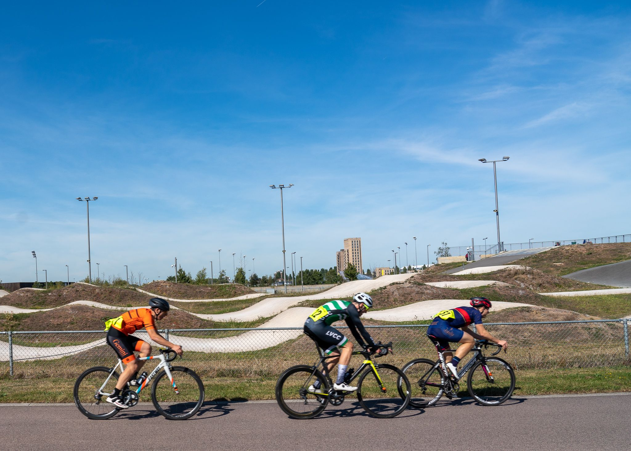 Velodrome, cyclists in action, Olympic Park