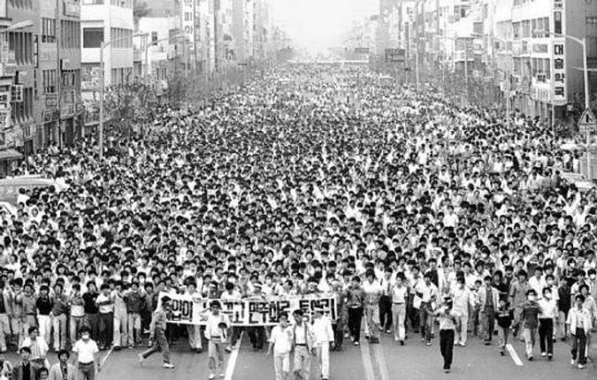Gwangju Uprising - Citizens protesting for democracy, on 18-27 May 1980, South Korea