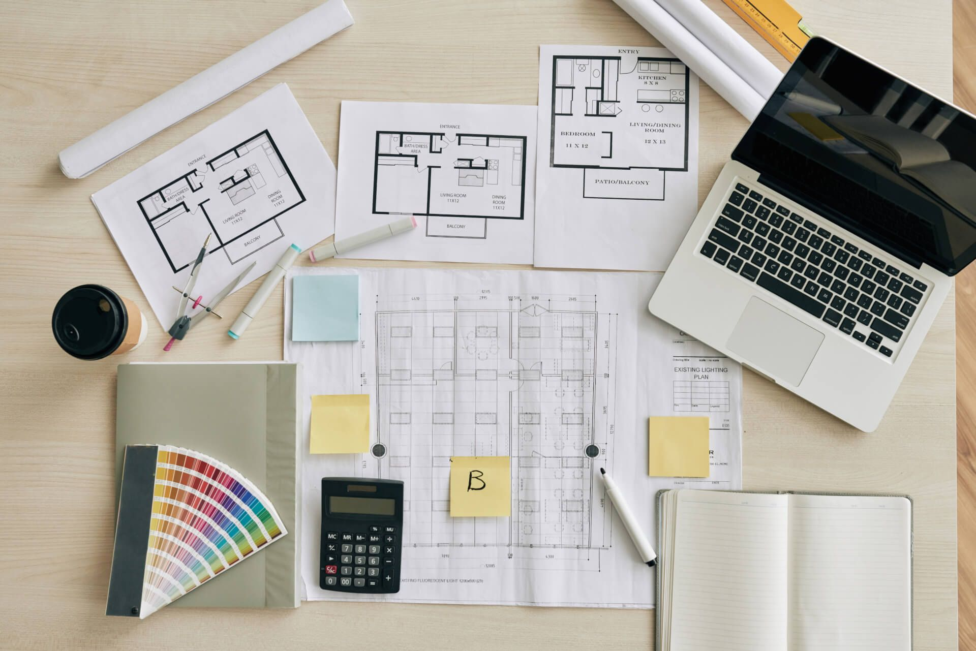 Floor plans and laptop