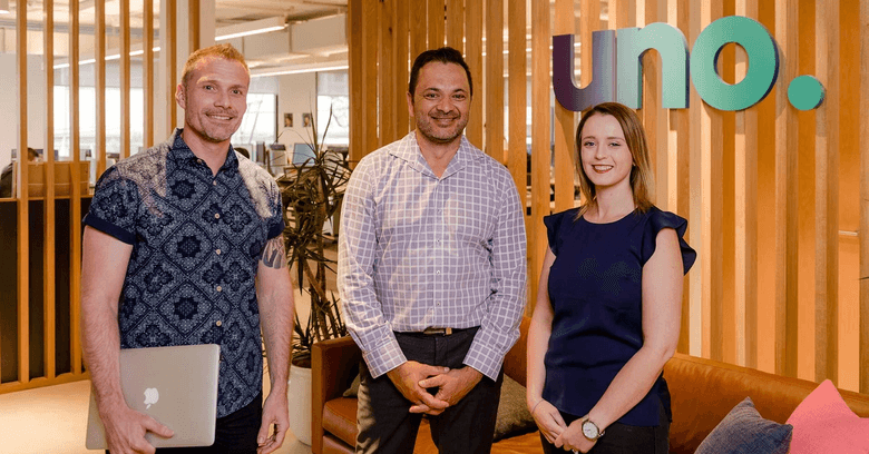 uno customer Chris La Fou, centre, with uno adviser Paul Sealey and home loan support, Crystal Bowman.
