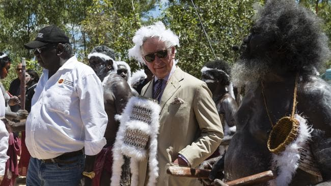 Donning traditional Aboriginal garb in the Northern Territory. Source: AAP