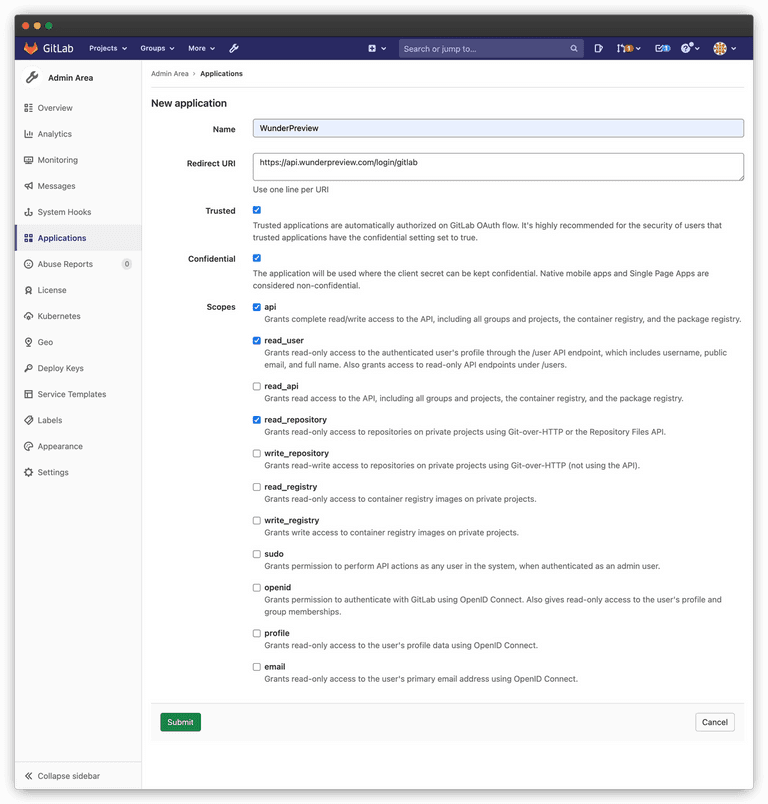 Screenshot of creating a new Gitlab application for WunderPreview