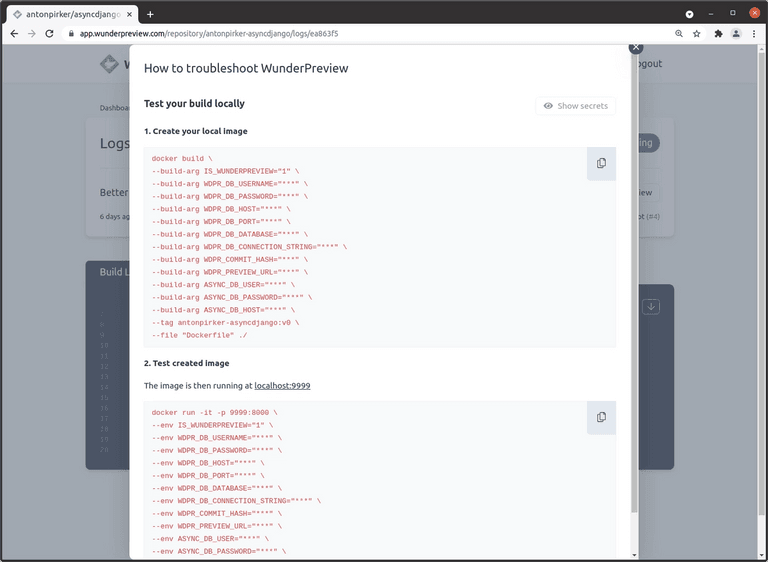 Build Commands in WunderPreview