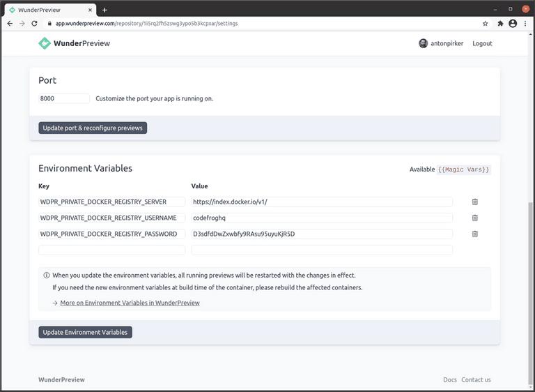 Private Docker registry configuration in WunderPreview