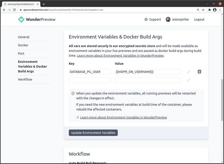 Screenshot of using WunderPreview env vars as value of other env vars.