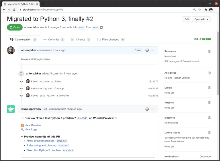 Screenshot of GitHub with link to the latest preview with a history of all previews in this pull request