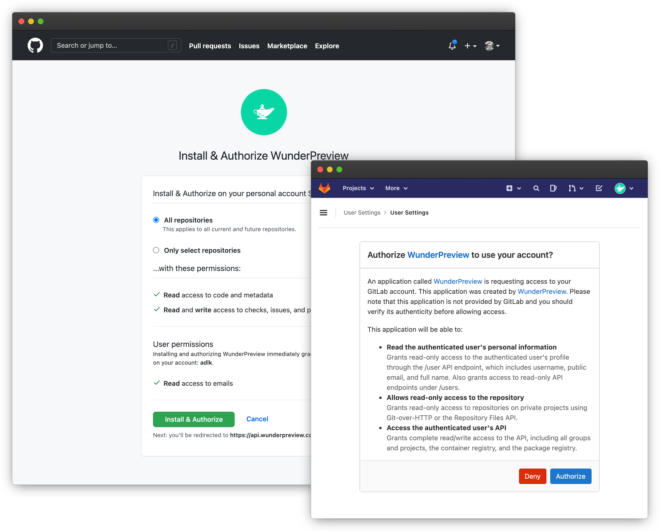Screenshots of GitHub and Gitlab to authorize WunderPreview to access organizations & repositories