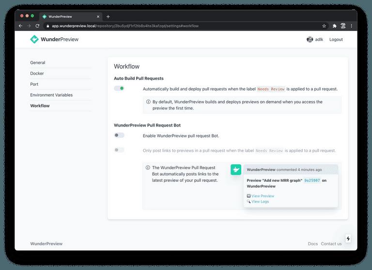 Screenshot of the WunderPreview Workflow Settings