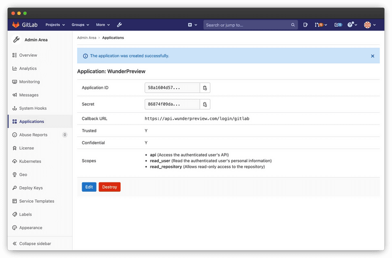 Screenshot of the newly created gitlab application for WunderPreview