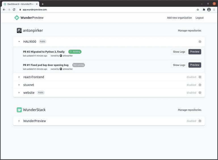 Screenshot of repository list