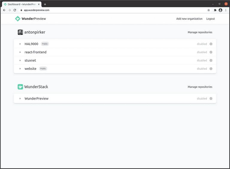 Screenshot of the WunderPreview dashboard