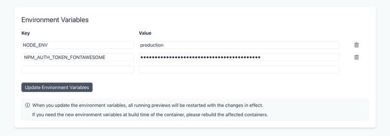 Screenshot of env var settings in repository settings