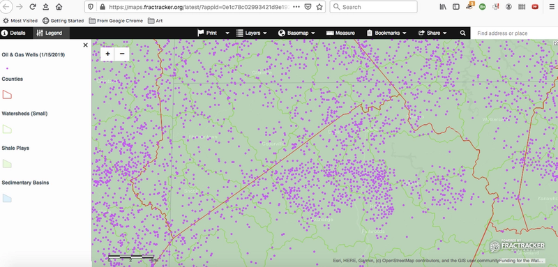 roughly 40 mile wide image of countless single fracking wells in WV