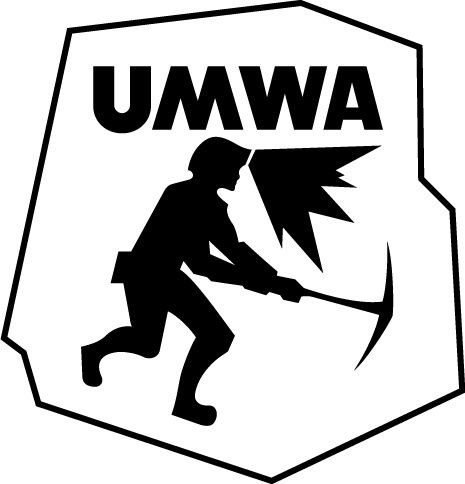 UMWA logo of a miner with headlamp and pick axe