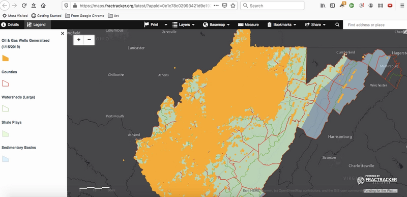 state of WV with large swaths of orange indicating general oil and gas wells