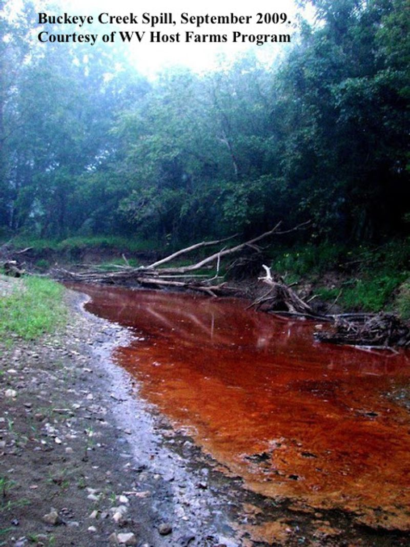 a river is now red with pollution after a chemical spill caused by fracking
