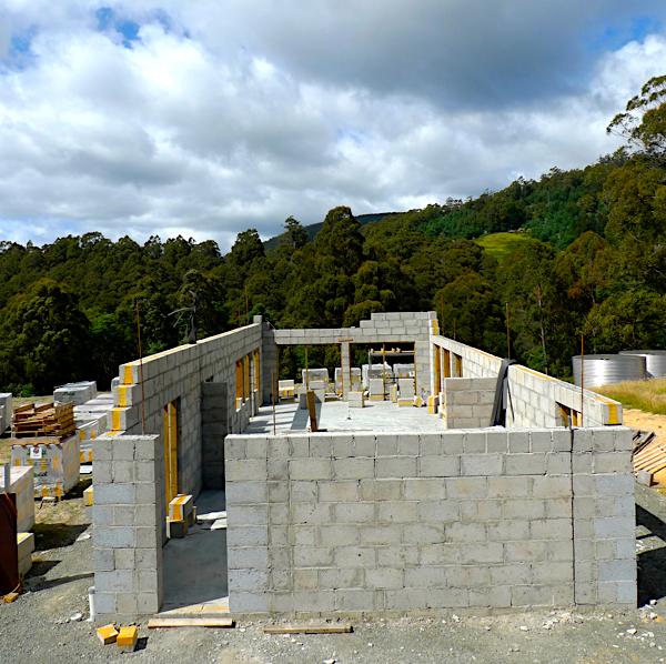 clinkaBLOK home under construction in Tasmania