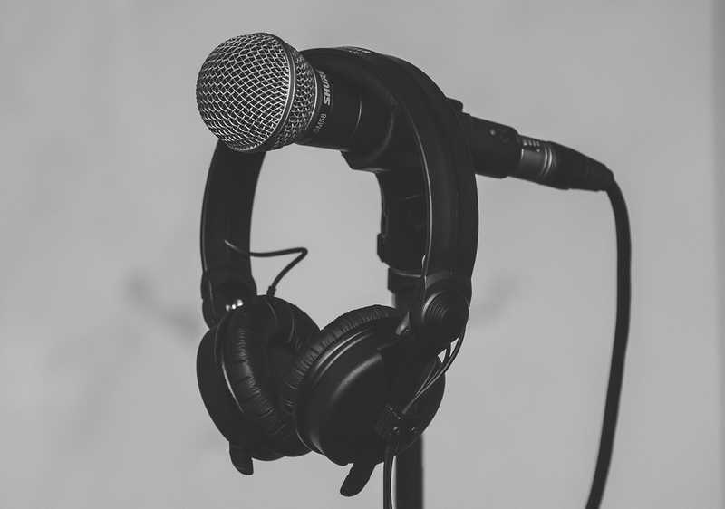 A lonely microphone with headphone monitors awaits its next Musicfox artist.