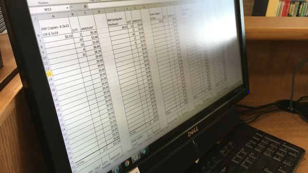 Close-up of an Excel Spreadsheet