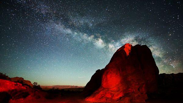Night sky and desert landscape