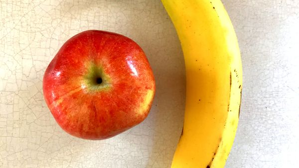 An apple and banana